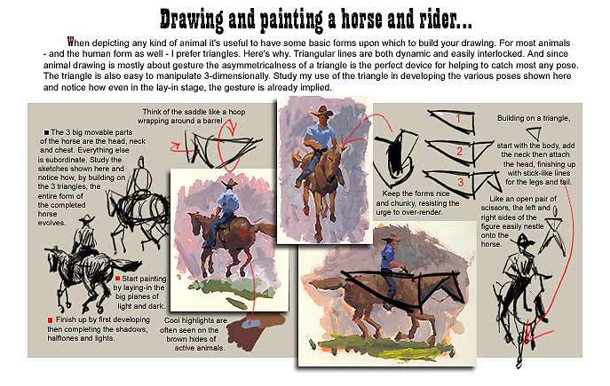 Painting a Horse and Rider lesson...